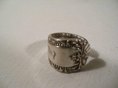 "Old London Spoon Ring, Sz 5-1/2, Silverplate,#59,Vintage Flatware Monogramed ""T"""