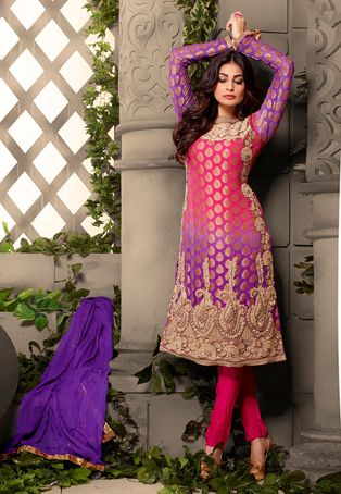Fuchsia and Purple Faux Georgette Jacquard Kameez with Straight Pant