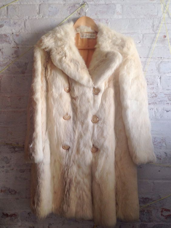 absolutely gorgeous vintage rabbit fur coat with silky golden lining from the early 70s    // incredibly soft fur in wonderful condition  // thick