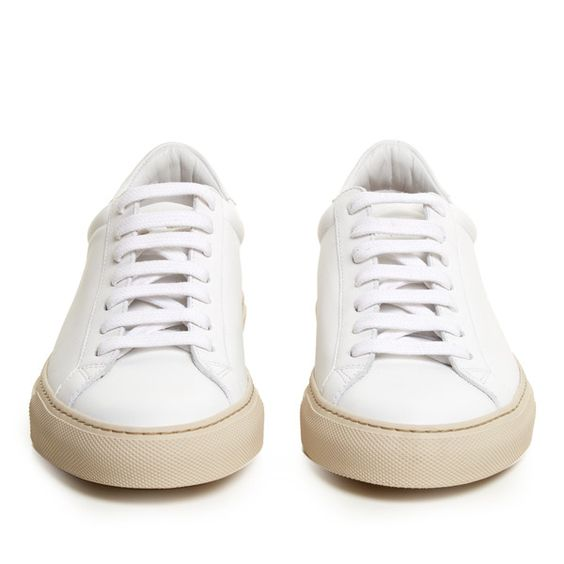 Givenchy Urban Street low-top leather trainers (2,515 CNY) ❤ liked on Polyvore featuring shoes, sneakers, leather shoes, white leather sneakers, white low top shoes, urban sneakers and givenchy sneakers