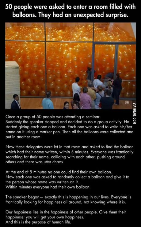 The secret to happiness demonstrated with balloons.