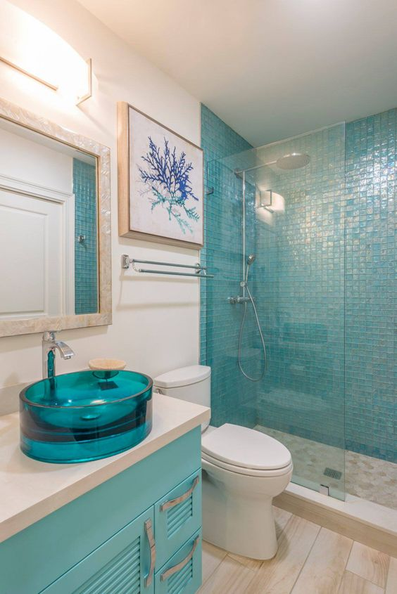 David smith turquoise and shower tiles on pinterest - Turquoise bathroom floor tiles ...