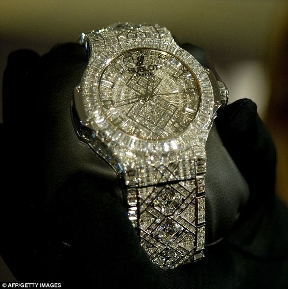 The world's most expensive timepiece.   Hublot's new watch, which has a price tag of $ 5million, dazzles with a staggering 140 carats of diamonds, all set in white gold.