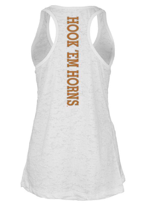 Texas Longhorns Tank Top- Junior Women's White Pocket Tank (back)