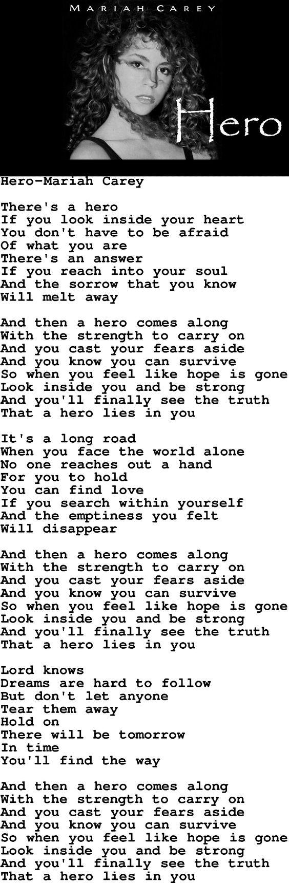 Mariah Carey - Hero #lyrics #strength #quote | Words to ... Mariah Carey Hero