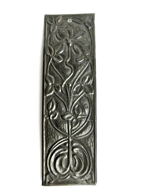 Antique art nouveau copper finger plate door metal for Door finger plates