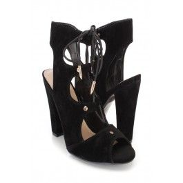 Black Lace Up Single Sole Chunky Heel Booties Faux Suede