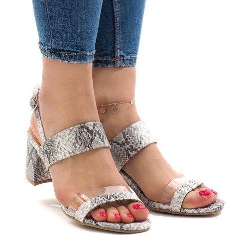 Wezowe Sandaly Na Slupku Zamsz S 7346 Biale Womens Sandals High Heel Sandals Sandals