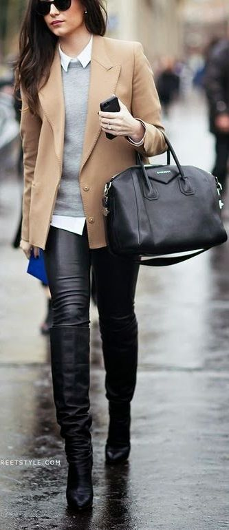 Black Leather High Knee Boots: