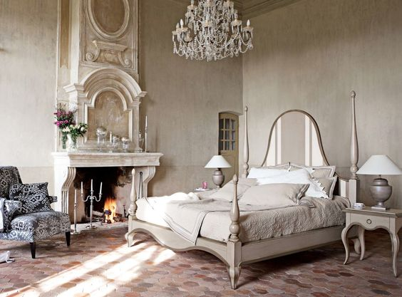Bedroom : Cream Bedroom Design Ideas Fireplace Double Table Lamp On The Small Table With Single Drawer Bed Cream Cream Bed Sheet Cozy Pillow White Pillow Chandelier Floral Cushion Floral Armchair Ornate Fireplace Amazing Modern Bedrooms Classic and Rustic Bedroom Design Styles. Similar Bedrooms. Bedrooms Design Ideas.