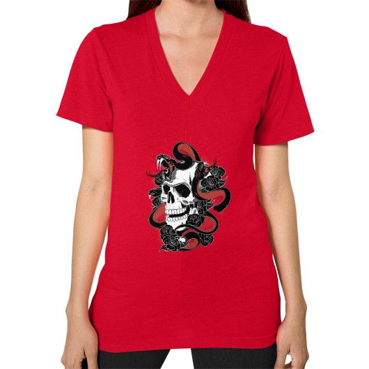 Skull and snakes V-Neck (on woman)