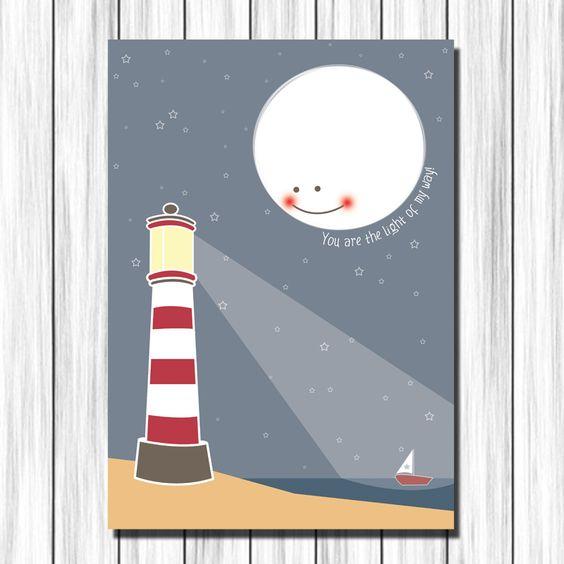 Cuadro infantil luna faro para decoraci n en habitaci n de - Cuadros habitacion ninos ...