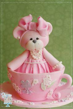 pink cute teddy bear in cup  --