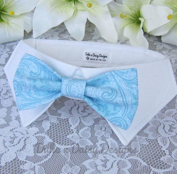 Wedding Dog Bow Tie Seaglass Pet Bowtie by DukeNDaisyDesigns  #weddingdogs #weddingpets