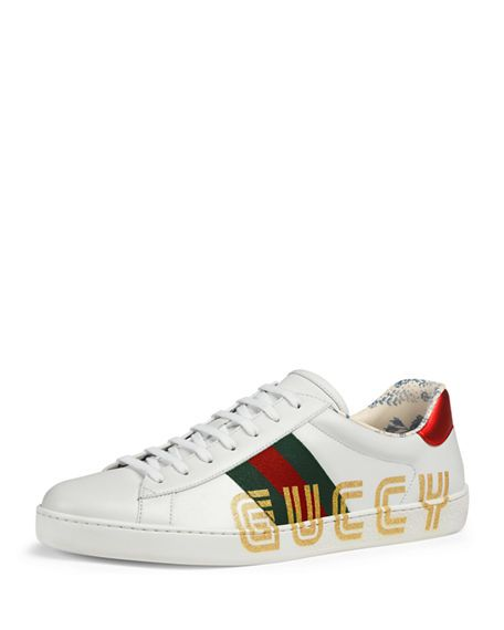 Gucci Ace Guccy Sneakers In White