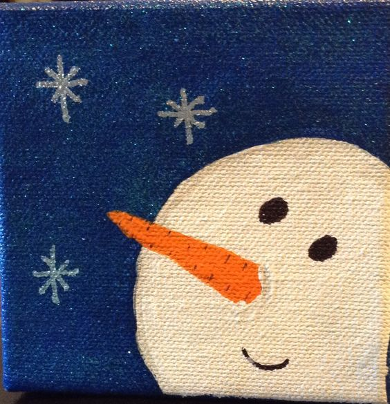 my snowman on canvas for my desk at work crafts