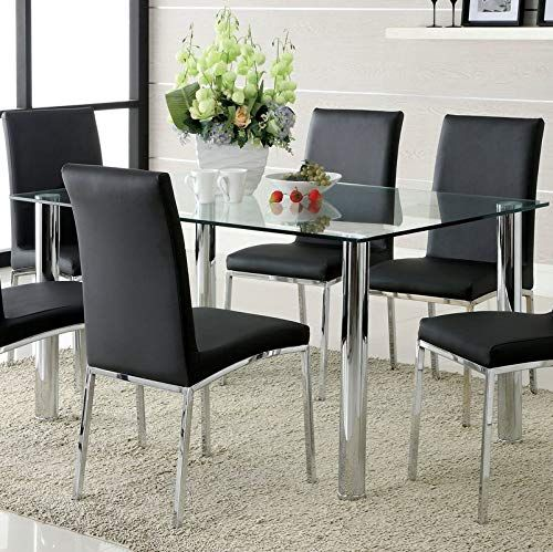 Steel Base Dining Table Dining Table With Glass Top Chrome