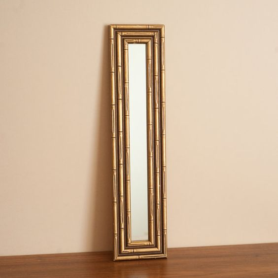 Long thin gold faux bamboo wooden mirror hollywood for Thin wall mirror