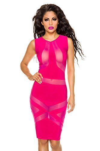 Amynetti Damen Kleid Sexy Elegantes Durchsichtiges Transparentes Partykleid Cocktailkleid Minikleid Partykleid Neon Pink mit Muster - Neonpink - 38 / 40
