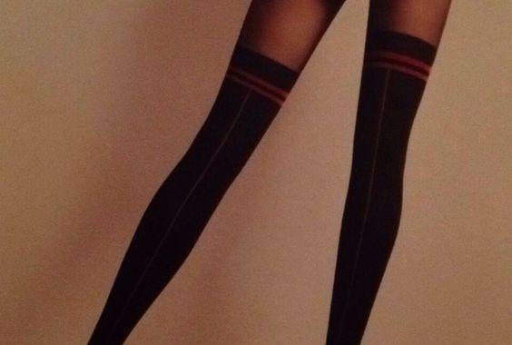 Red & black panty stockings