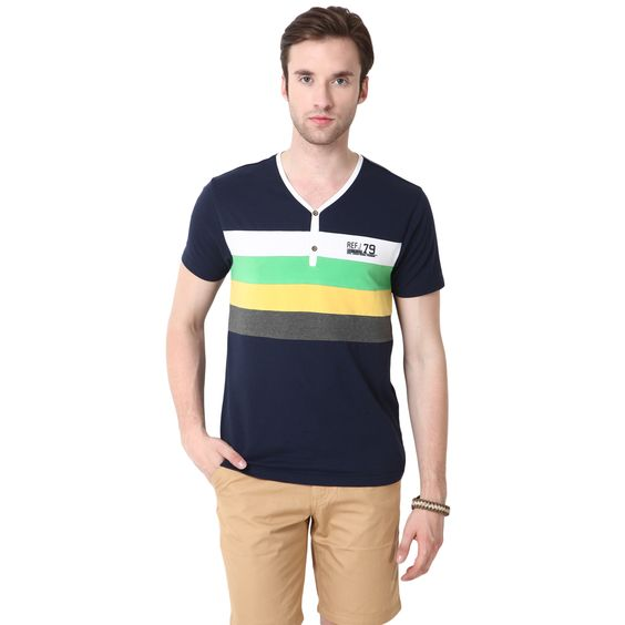 MUDO Y-Neck Solid Navy Blue Henley Tee with fashion stripes Grey,Yellow, Green and White on chest
