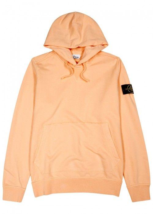 Peach Hooded Cotton Sweatshirt In Salmon Ropa