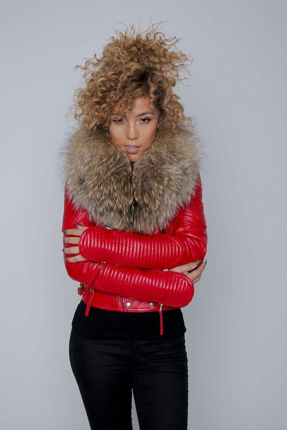 Red Fur Collar Leather Jacket – KarensClosetNY redleather
