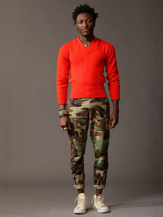 #orange & #camo || #menswear |Pinned from PinTo for iPad|