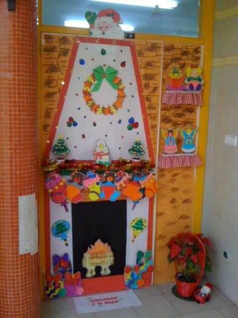 Puerta decorada del cole navidad pinterest for Puertas decoradas navidad material reciclable