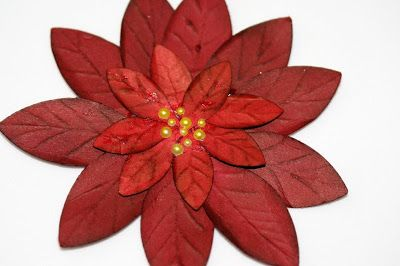 Designed by maryross free tutorial on how to make a poinsettia, punch art made with build a blossom from stampin up