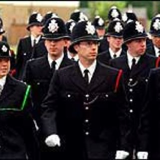 Uniformed uk cops trio outdoors w pulled babe