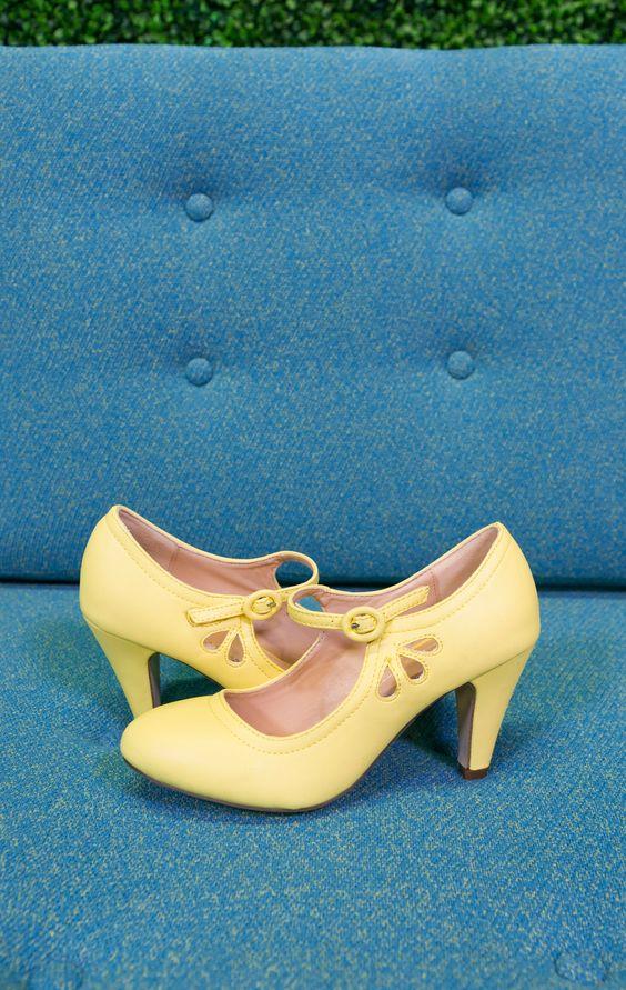 lemon yellow vintage wedding shoes