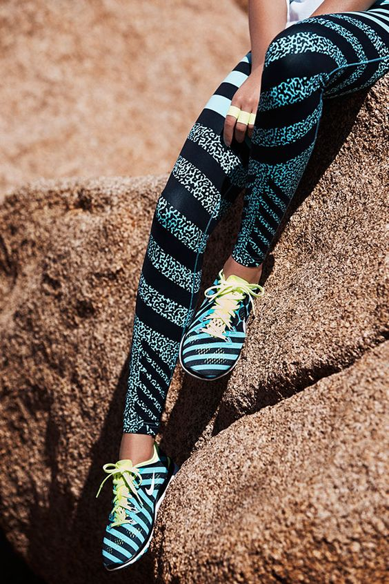 On your mark. Get a leg up on your summer training with new patterns and punchy tights. Shop the Legendary Mezzo Zebra Print tights and Nike Free TR 5 Print shoes.