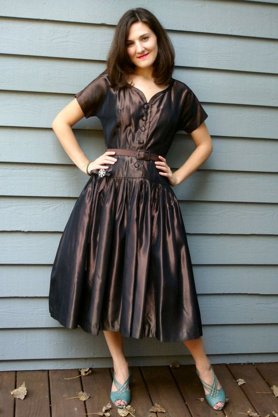 Vintage 40's Bronze Party Dress #vintagedress #40sdress
