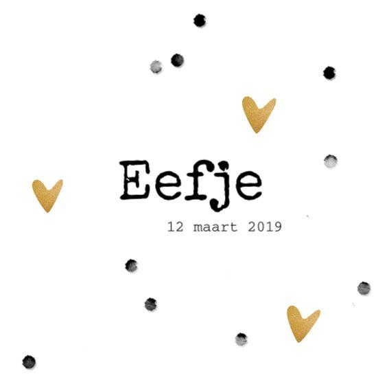 LOVZ | Hip zwart wit geboortekaartje voor een meisje met confetti stippen en goud gekleurde hartjes met een structuur look. Smelt zo lief...
