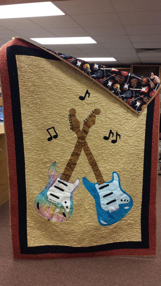 applique guitar lap quilt