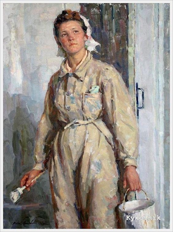 Григорьев (Савушкин) Павел Григорьевич (Россия, 1916-1990) «Маляр Ольга Федорова»