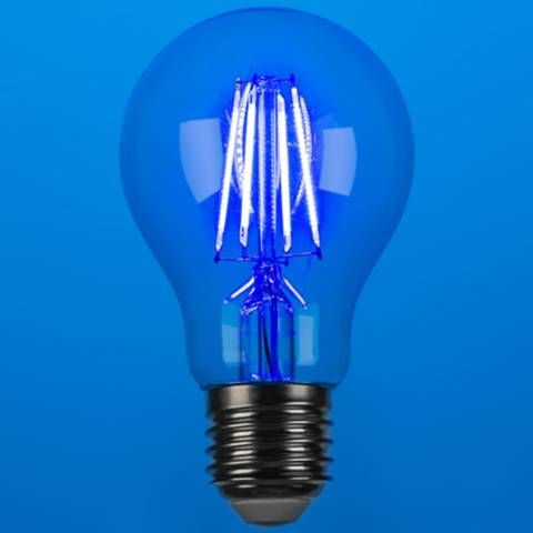 40w Equivalent Blue 4w Led Dimmable Standard Party Bulb 1v327 Lamps Plus In 2020 Bulb Lamps Plus Filament Bulb Lighting