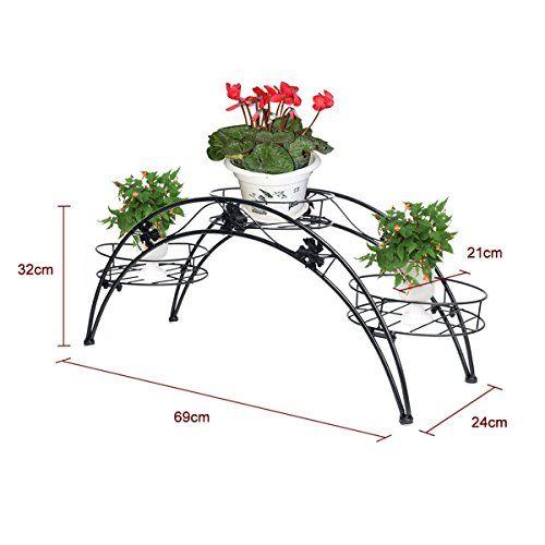 Etagere De Pots De Fleurs Plantes Etagere Arche En Metal Fer Forge Pour Decoration Maison Jardin Noir Dazone Bonsai Interieur Fleurs Balcon Fer Forge