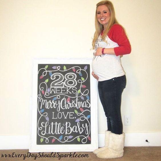 Week 28 Pregnancy Chalkboard