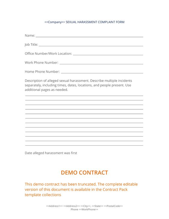 Sexual Harassment Complaint Form - Use the Sexual Harassment - sample harassment complaint form