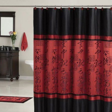 Red Curtains amazon red curtains : Amazon.com: Red Black Asian Designed Bathroom Polyester Shower ...