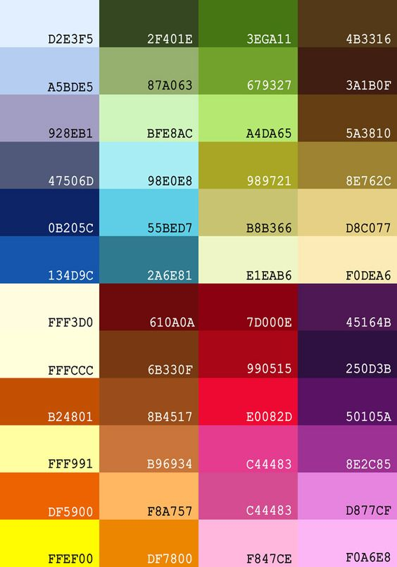color groups w/ hex codes | Jewelry (Color Group Ideas ...