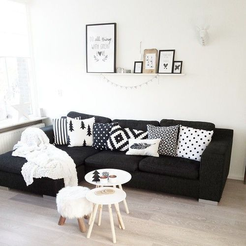 How To Style A Black Sofa The Marble Home Black Sofa Living Room Black Couch Living Room Black Sofa Living Room Decor