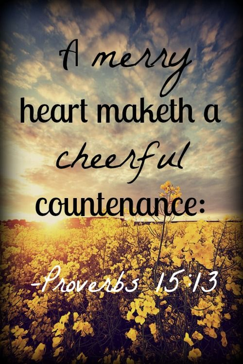 Proverbs 15:13 (NKJV) ~ A merry heart makes a cheerful countenance, But by sorrow of the heart the spirit is broken.