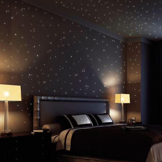 Wandtattoo - 350 Stk fluoreszierende Sterne leuchten im Dunklen - ein Designerstück von wandtattoo-loft bei DaWanda
