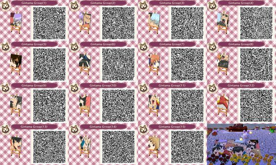 Gintama characters mural animal crossing new leaf qr codes for Animal crossing mural