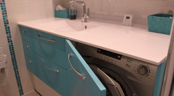 Lave linge cacher dans meuble de salle de bain salle de for Lave linge dans salle de bain