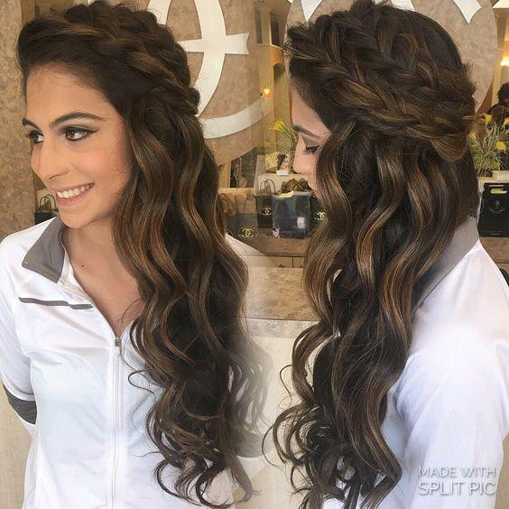 Down style summer spring wedding boho braids big braids down wedding style curls half up prom style prom 2016 curls done by IG hairbynickyz