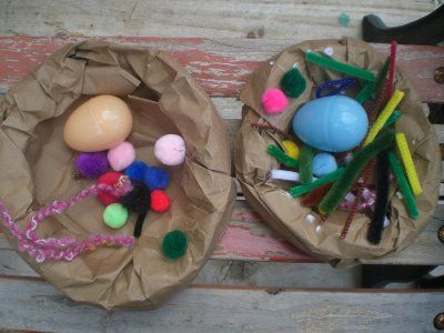 Paper Bag Bird Nests from Montessori Mama